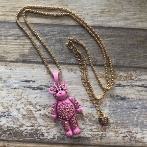 NEW✨ Betsey Johnson Pink Teddy Bear Long Necklace